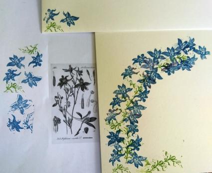 gestempelte Ritterspornblüten